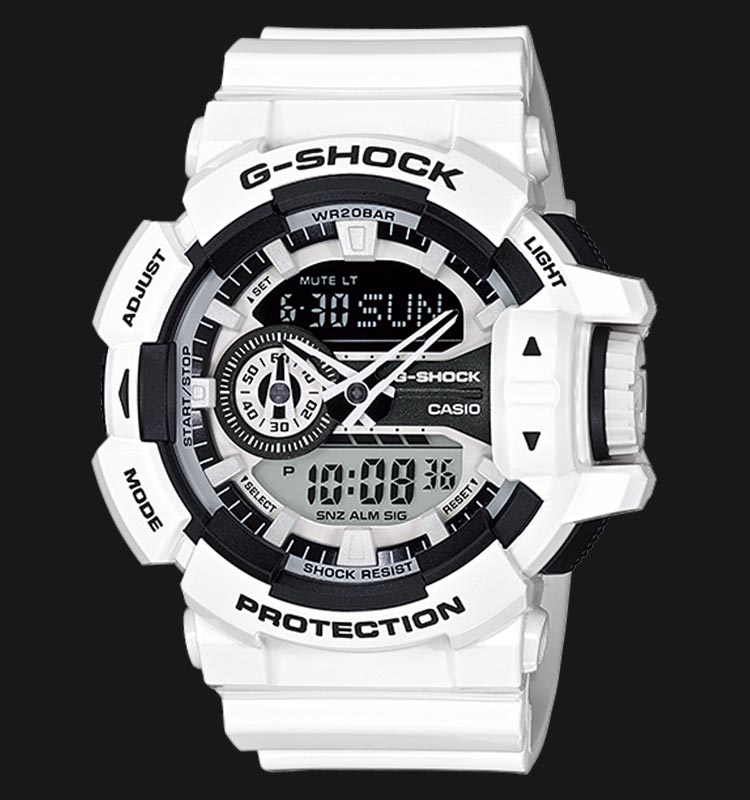 Casio G-Shock GA-400-7ADR Digital Analog Dial White Resin Strap Machtwatch