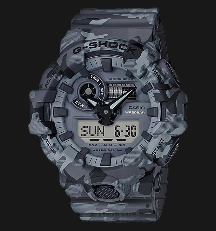Casio G-Shock GA-700CM-8ADR Gray Woodland Camouflage Shock Resistant Resin Band Machtwatch