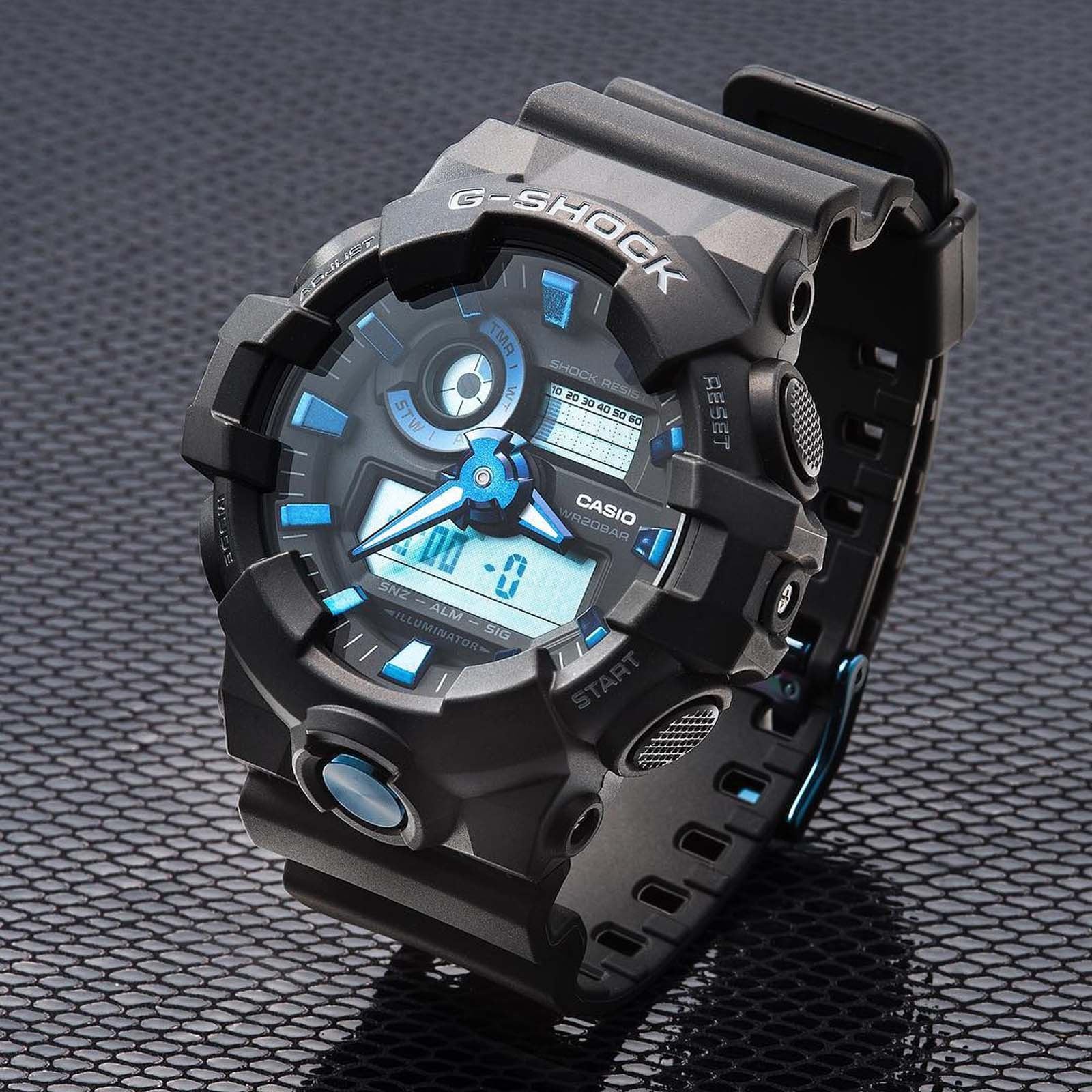 Casio G-Shock GA-710B-1A2DR Special Color Models Digital Analog Dial Matte Black Resin Strap Machtwatch