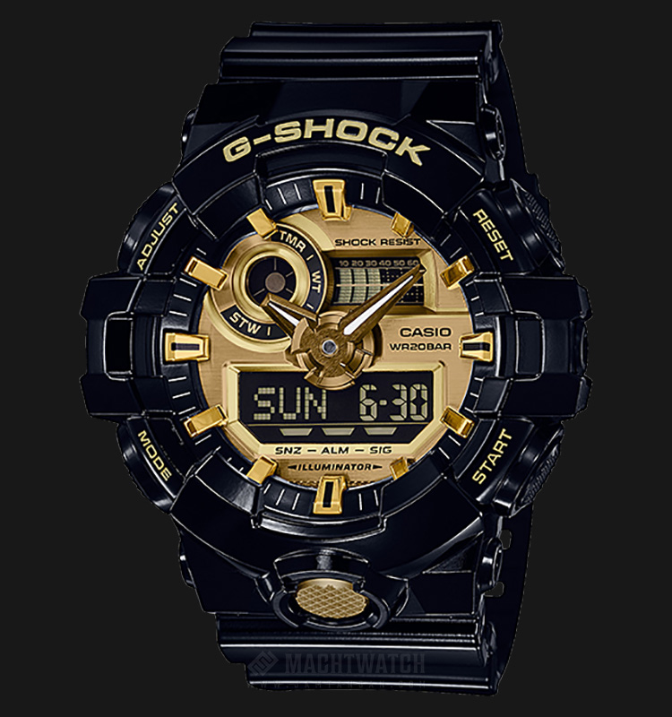 Casio G-Shock GA-710GB-1ADR Analog-Digital Black Resin Strap Machtwatch