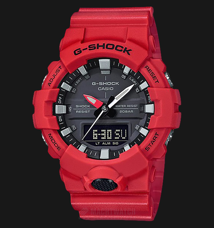 Casio G-Shock GA-800-4ADR Digital Analog Dial Red Resin Strap Machtwatch