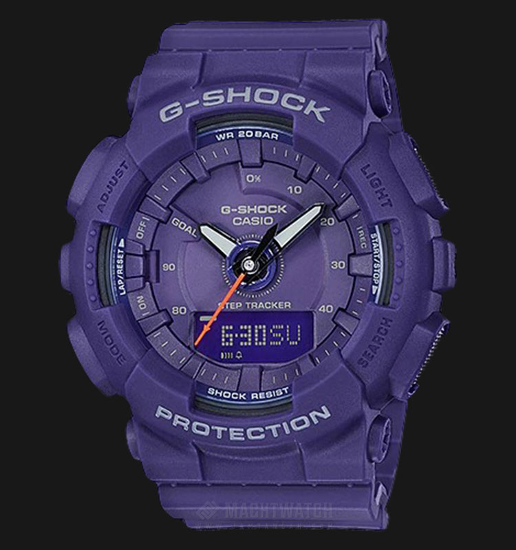 Casio G-Shock S Series Step Tracker GMA-S130VC-2ADR Digital Analog Dial Purple Resin Strap Machtwatch