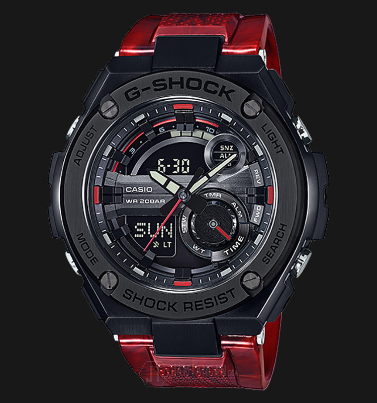 Casio GST-210M-4ADR - Water Resistance 200M Red Resin Band Machtwatch