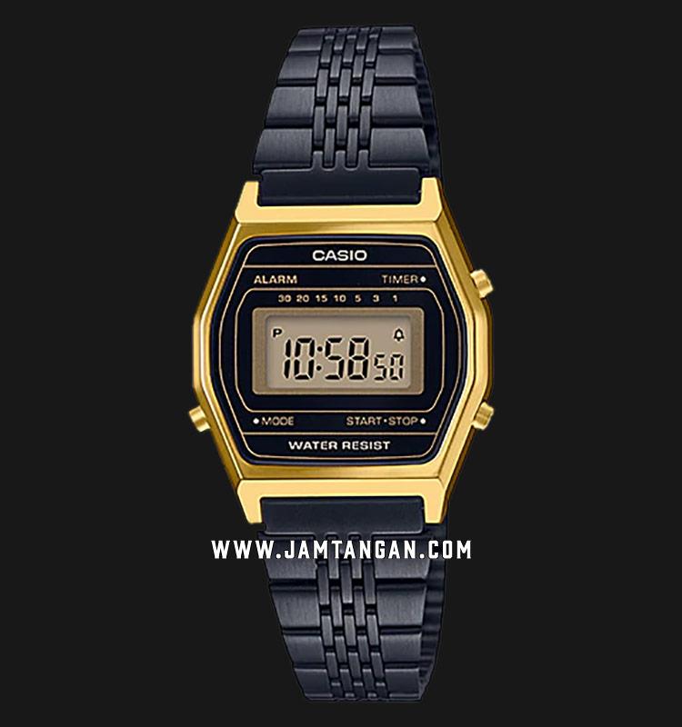 Casio LA690WGB-1DF Vintage Ladies Black Digital Dial Black Stainless Steel Strap Machtwatch