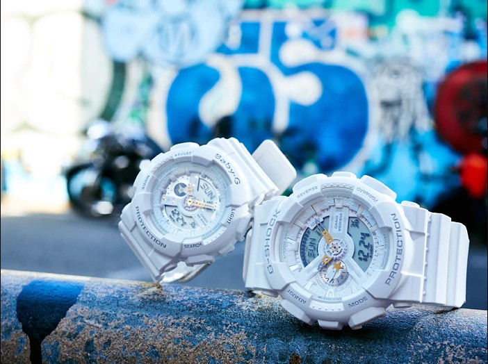 Casio G-Shock Presents Lovers Collection LOV-17A-7ADR Couple Digital Analog Dial White Resin Strap Machtwatch