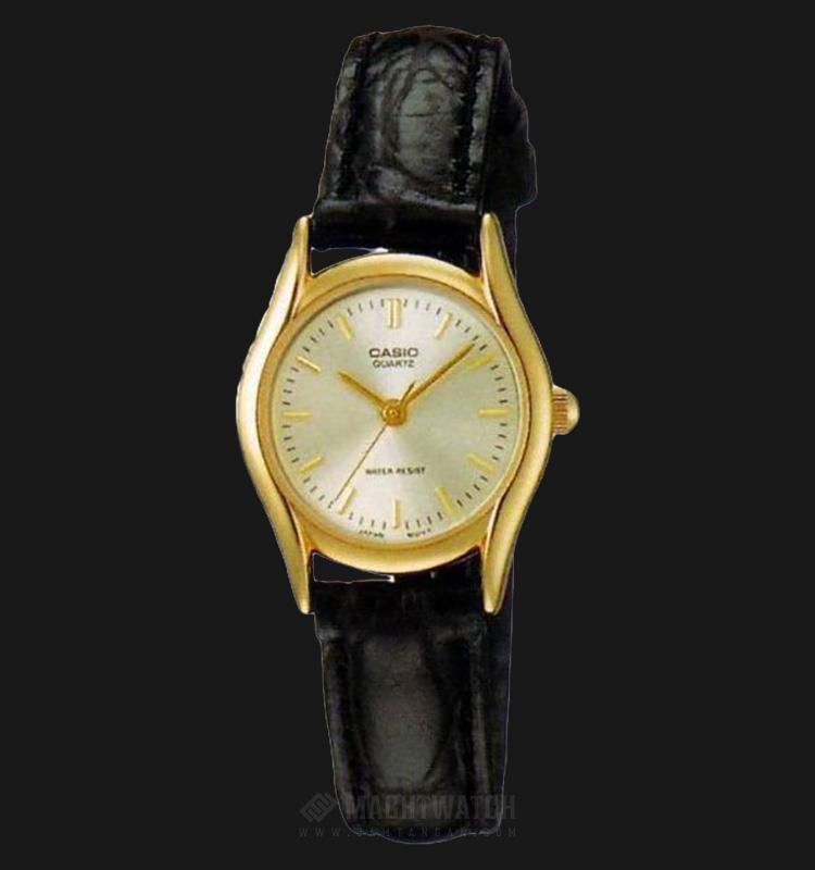 Casio LTP-1094Q-7ARDF - Enticer Ladies - Gold Dial Black Leather Strap Machtwatch