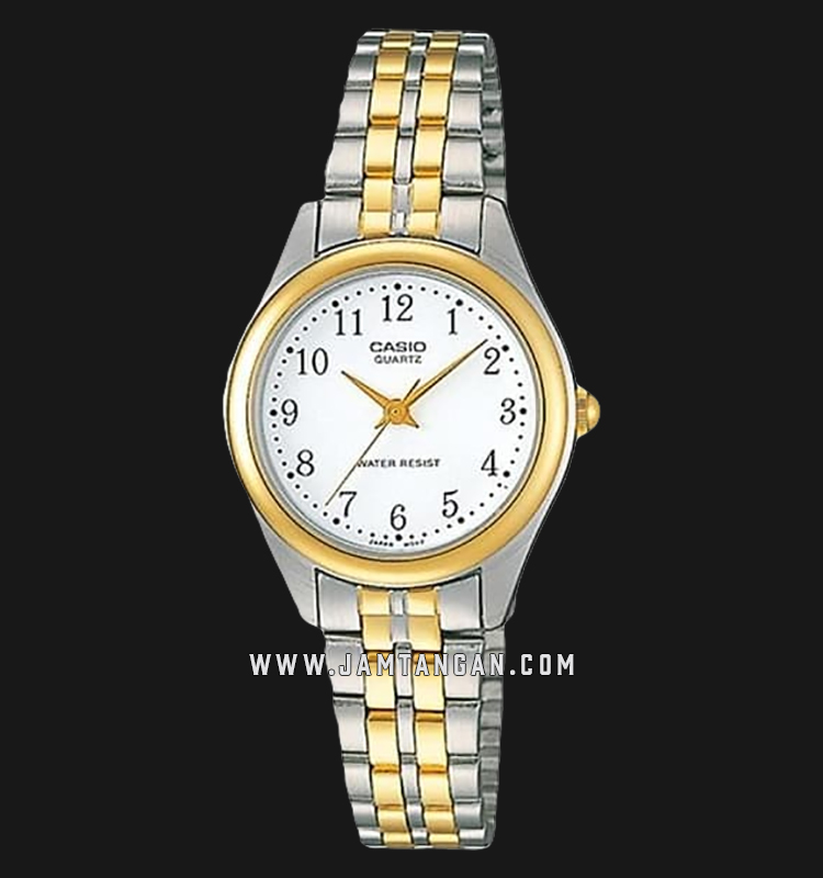 Casio LTP-1129G-7BRDF Ladies Analog White Dial Dual Tone Stainless Steel Strap Machtwatch