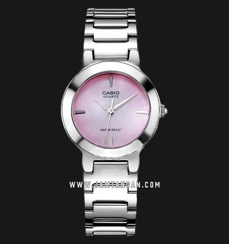 Casio LTP-1191A-4CDF Enticer Ladies Analog Pink Mother of Pearl Dial Stainless Steel Strap Machtwatch
