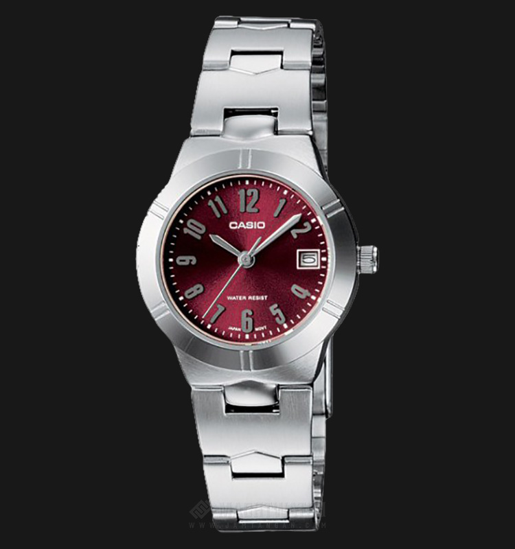 Casio LTP-1241D-4A2DF - Enticer Ladies - Red Dial Ion Plated Machtwatch