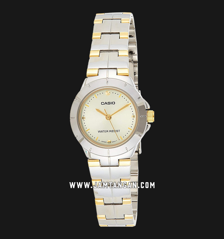 Casio LTP-1242SG-9CDF Enticer Ladies Gold Dial Dual Tone Stainless Steel Strap Machtwatch