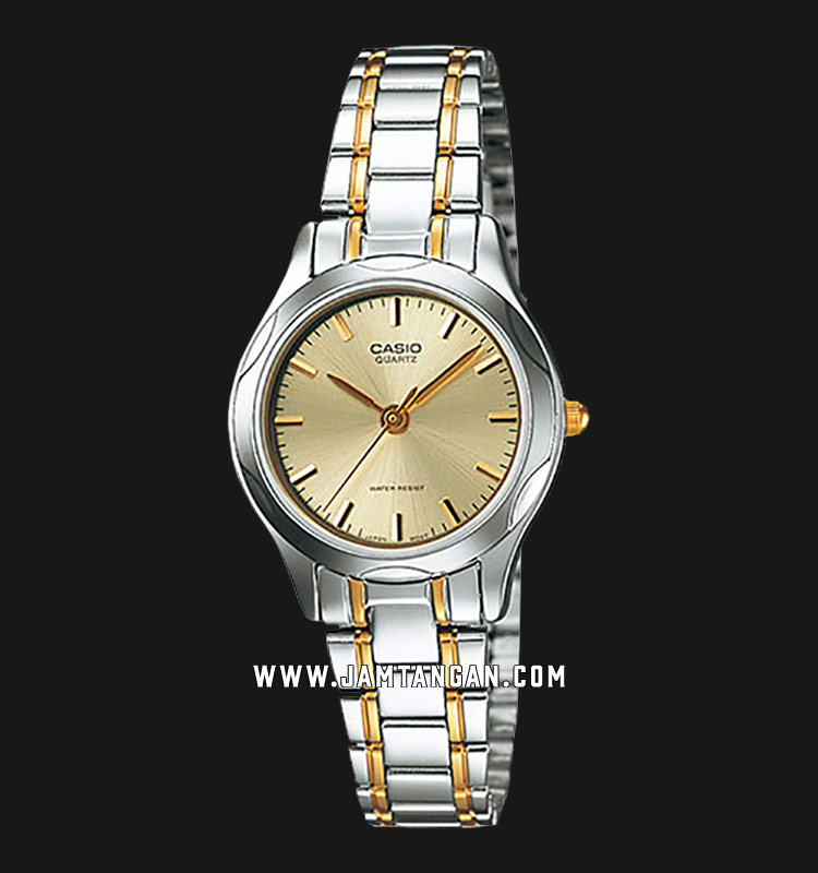Casio LTP-1275SG-9ADF Enticer Ladies Gold Dial Dual Tone Stainless Steel Strap Machtwatch