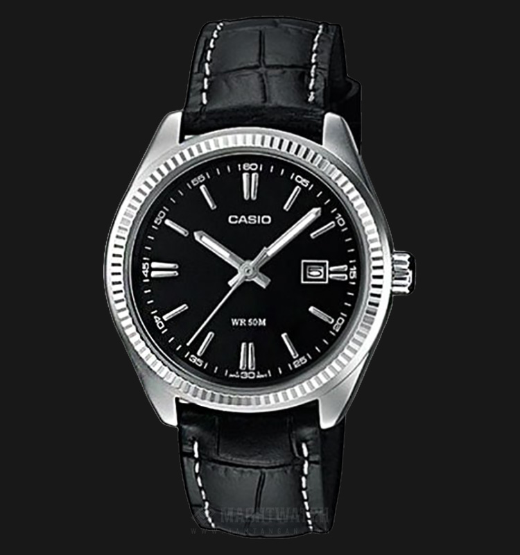Casio LTP-1302L-1AVDF Black Dial Ion Plated Black Leather Strap Machtwatch