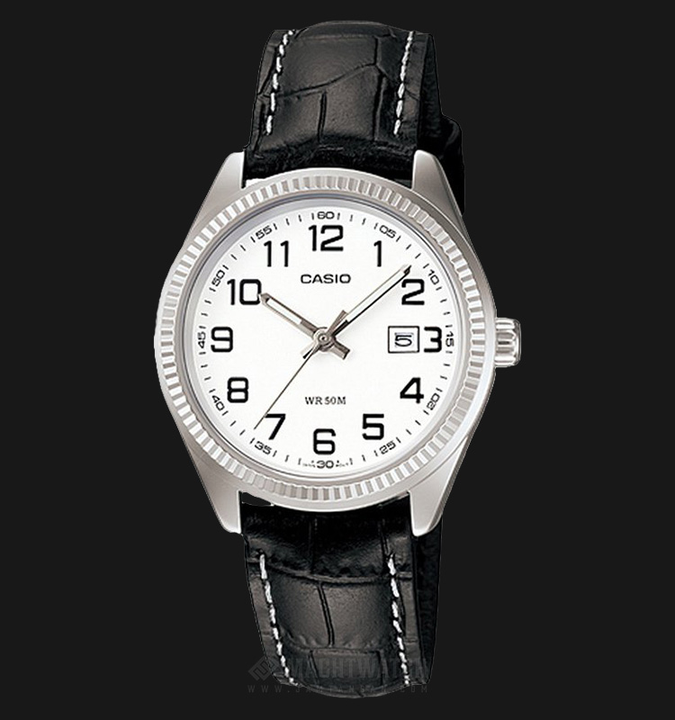 Casio LTP-1302L-7BVDF White Dial Ion Plated Black Leather Strap Machtwatch