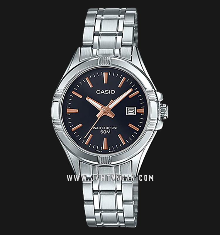 Casio LTP-1308D-1A2VDF Enticer Ladies Black Dial Stainless Steel Strap Machtwatch