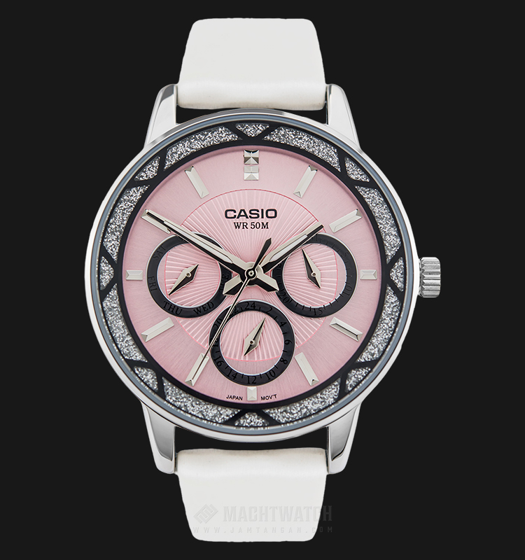 Casio General LTP-2087SL-4AVDF Ladies Pink Dial White Leather Strap Machtwatch