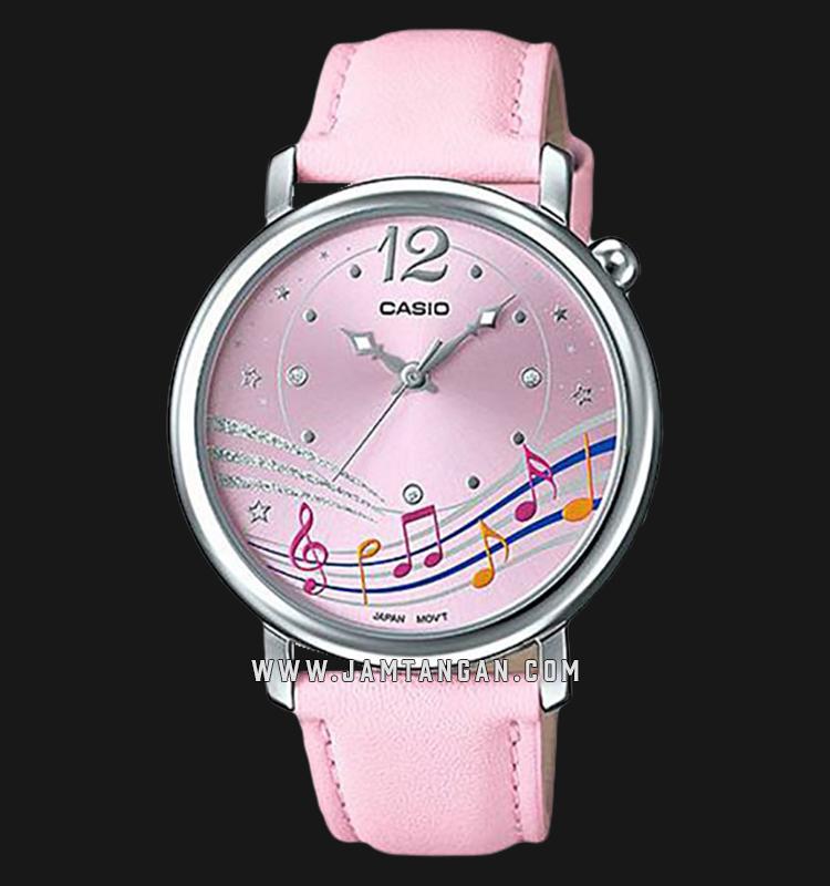 Casio LTP-E123L-4ADF Ladies Pink Dial Pink Leather Strap Machtwatch