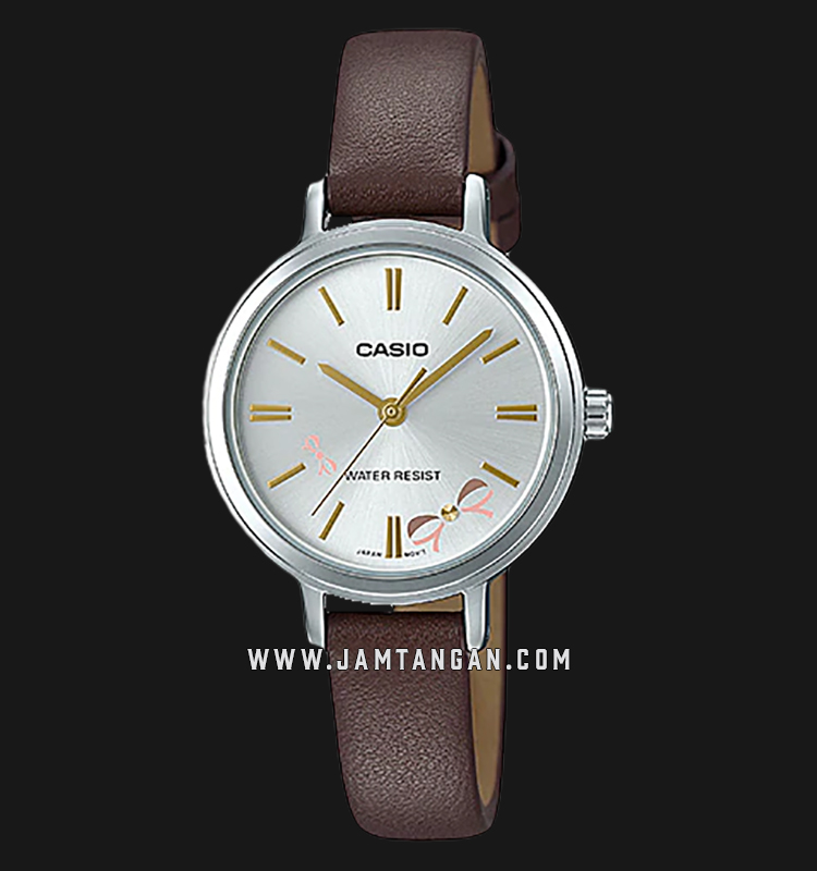 Casio LTP-E146L-5ADF Enticer Ladies Silver Dial Brown Leather Strap Machtwatch