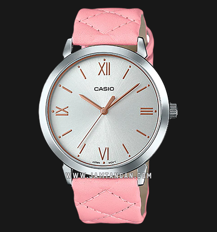 Casio LTP-E153L-4ADF Enticer Ladies Silver Dial Pink Leather Strap Machtwatch