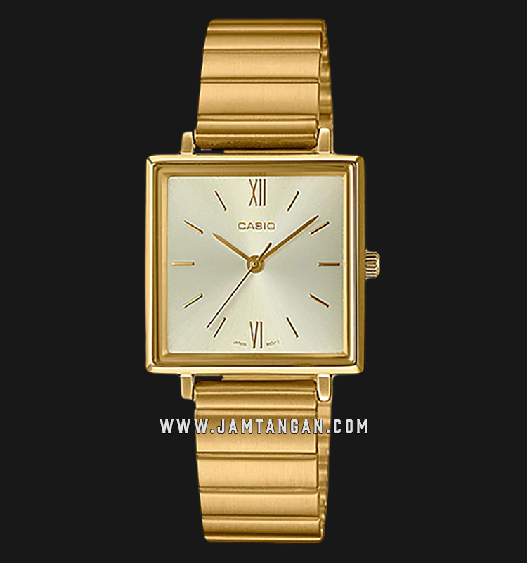 Casio LTP-E155G-9ADF Enticer Ladies Gold Dial Gold Stainless Steel Strap Machtwatch