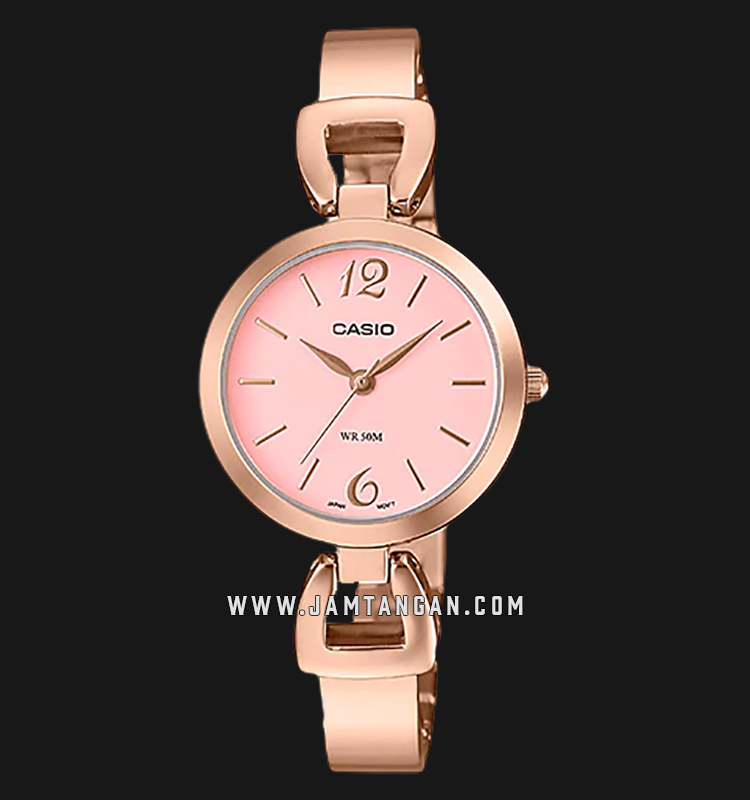 Casio LTP-E402PG-4AVDF Enticer Ladies Pink Dial Rose Gold Stainless Steel Strap Machtwatch