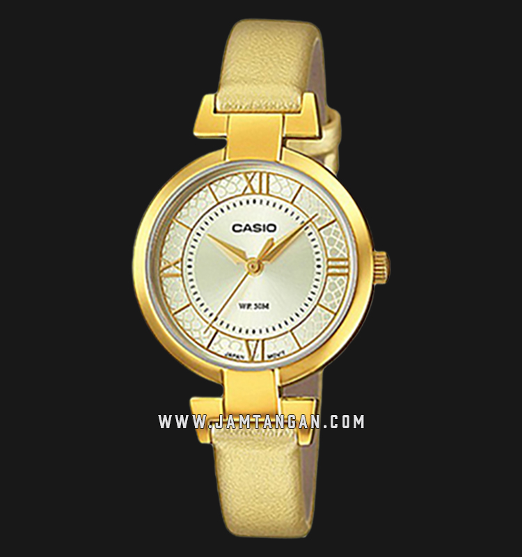 Casio LTP-E403GL-9AVDF Enticer Ladies Gold Dial Gold Leather Strap Machtwatch