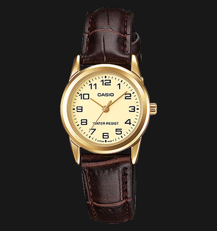 Casio LTP-V001GL-9BUDF Champagne Analog Dial Brown Leather Strap Machtwatch