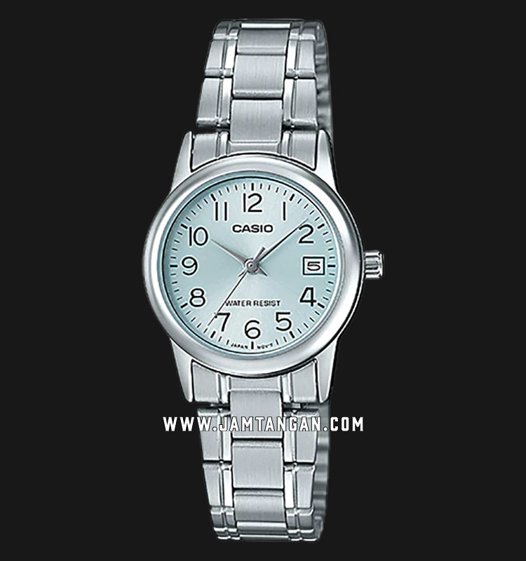 Casio LTP-V002D-2BUDF Analog Ladies Blue Dial Stainless Steel Strap Machtwatch