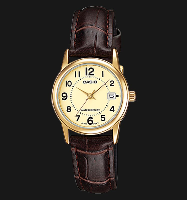 Casio LTP-V002GL-9BUDF Champagne Dial Brown Leather Strap Machtwatch