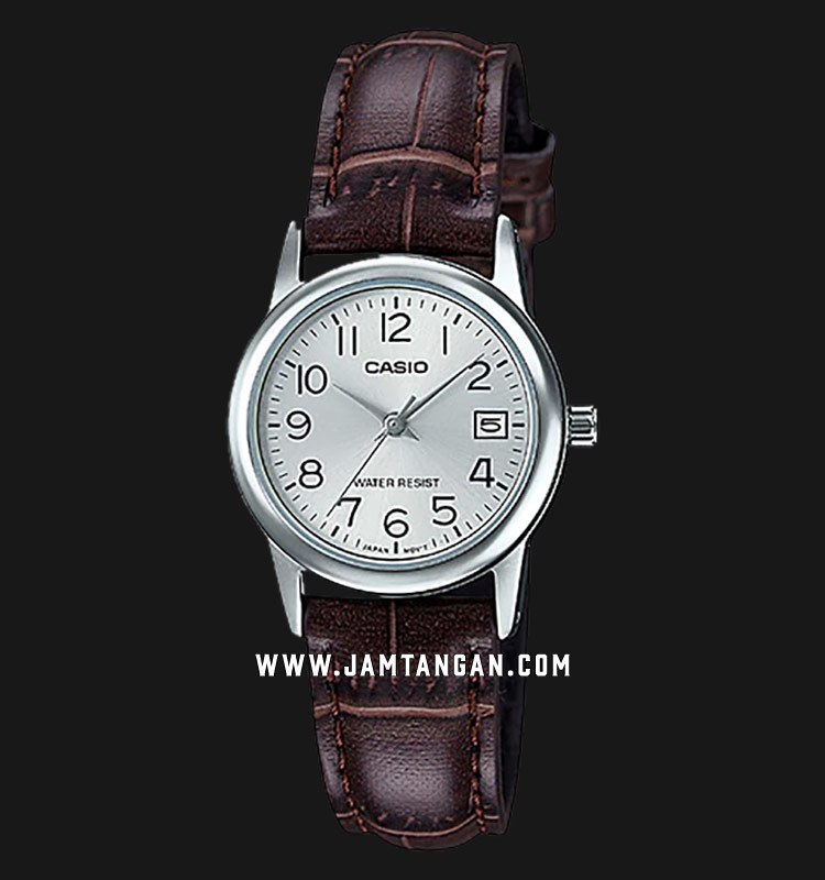 Casio LTP-V002L-7B2UDF Silver Dial Brown Leather Strap Machtwatch
