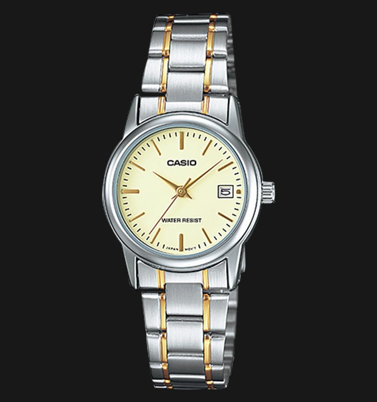 Casio LTP-V002SG-9AUDF Ladies Champagne Dial Dual Tone Stainless Steel Strap Machtwatch