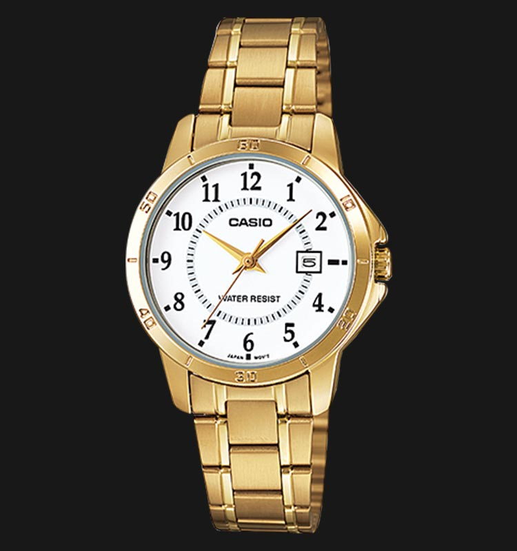 Casio LTP-V004G-7BUDF White Dial Gold Stainless Steel Machtwatch