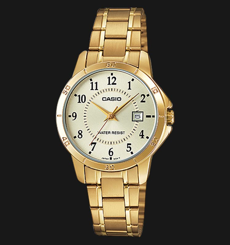 Casio General LTP-V004G-9BUDF Ladies Yellow Dial Golden Ion-Plated Stainless Steel Machtwatch