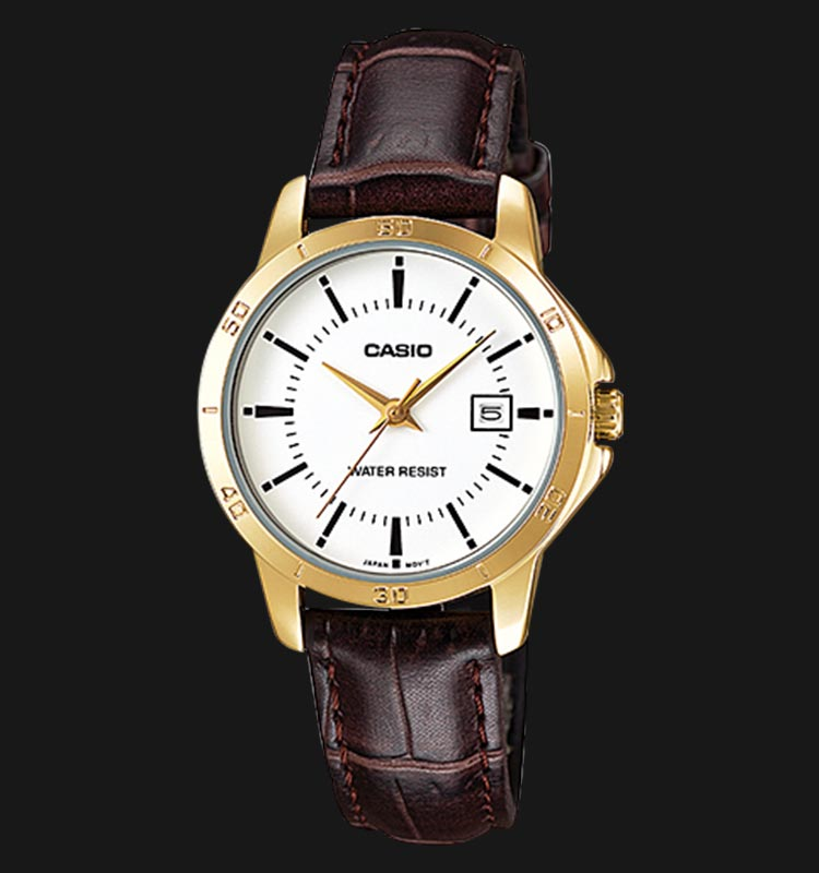 Casio LTP-V004GL-7AUDF Ladies White Dial Brown Leather Strap Machtwatch