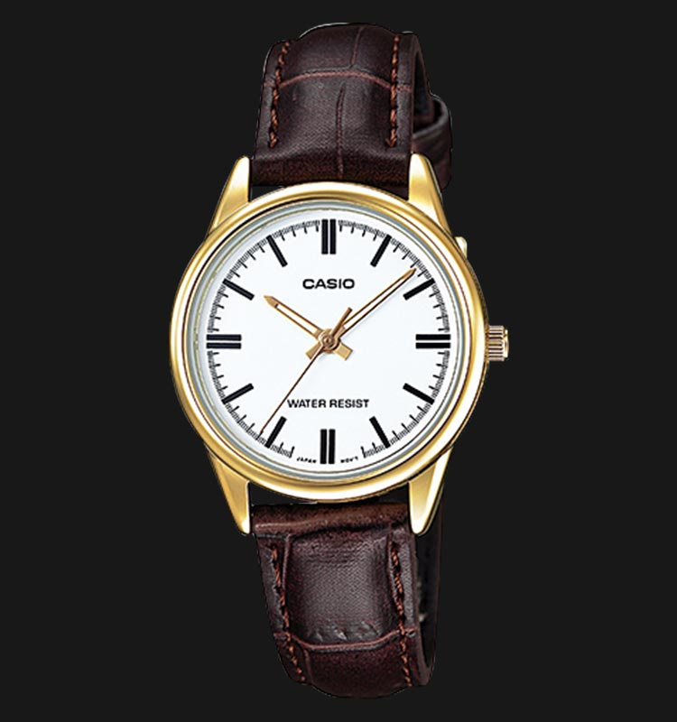 Casio LTP-V005GL-7AUDF White Analog Dial Brown Leather Strap Machtwatch