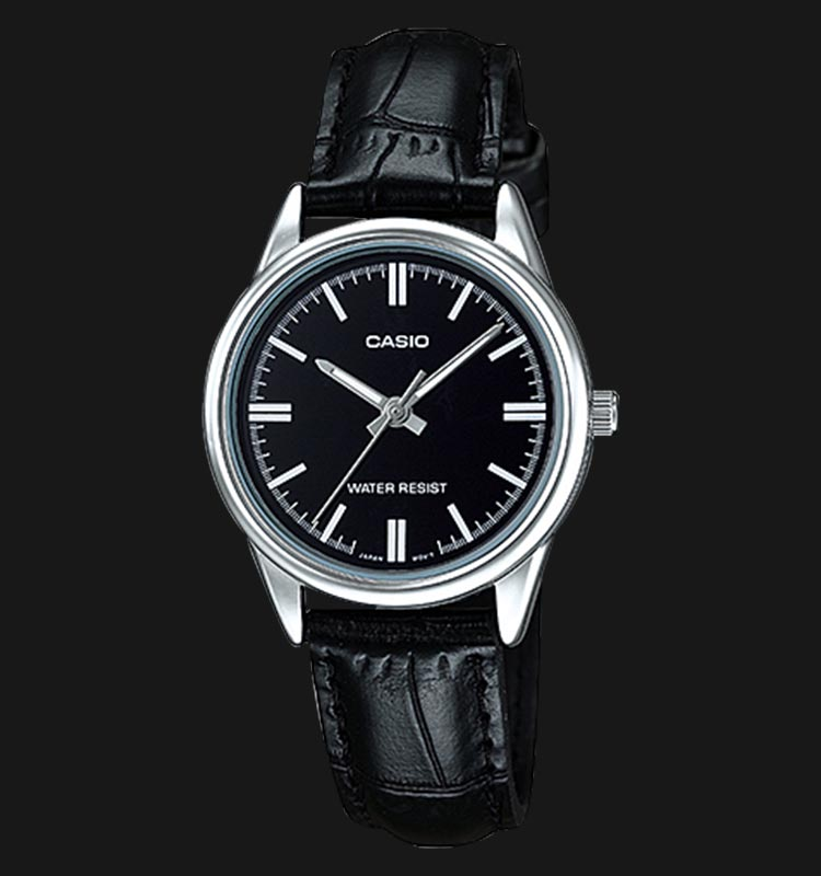 Casio LTP-V005L-1AUDF Black Analog Dial Black Leather Strap Machtwatch
