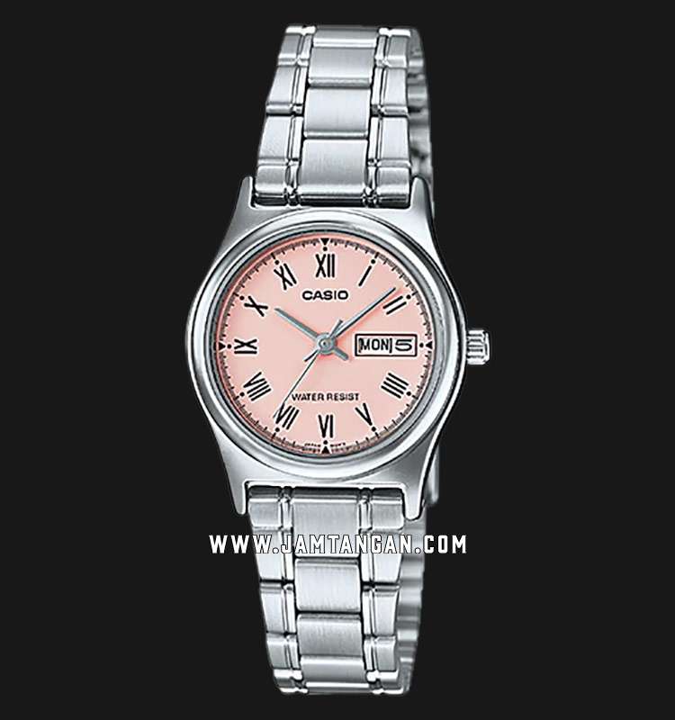 Casio LTP-V006D-4BUDF Analog Ladies Pink Dial Stainless Steel Strap Machtwatch