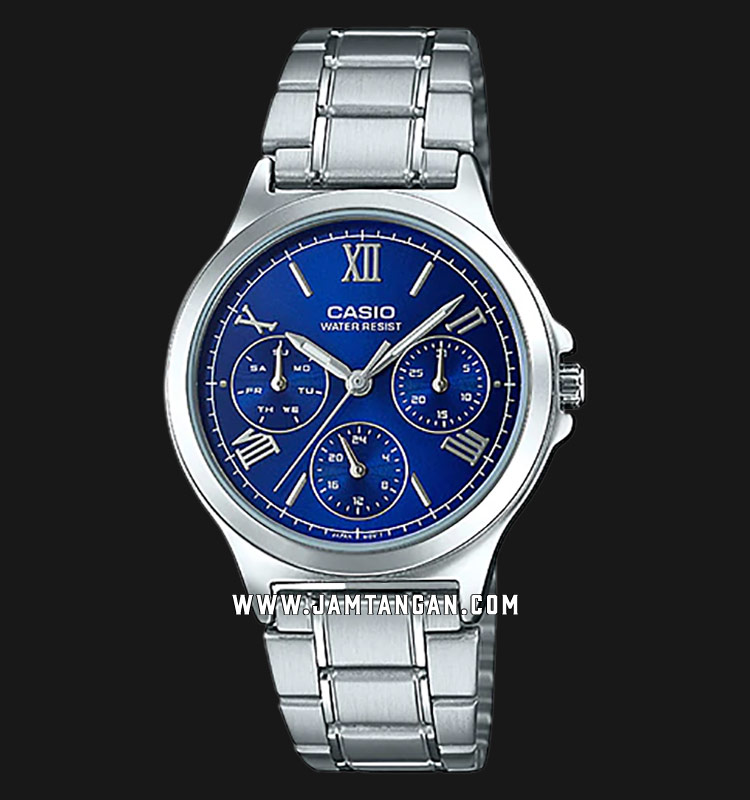 Casio LTP-V300D-2A2UDF Analog Ladies Blue Dial Stainless Steel Strap Machtwatch