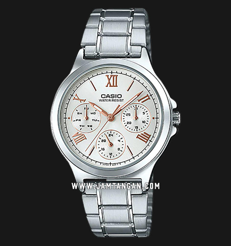 Casio LTP-V300D-7A2UDF Analog Ladies Silver Dial Stainless Steel Strap Machtwatch