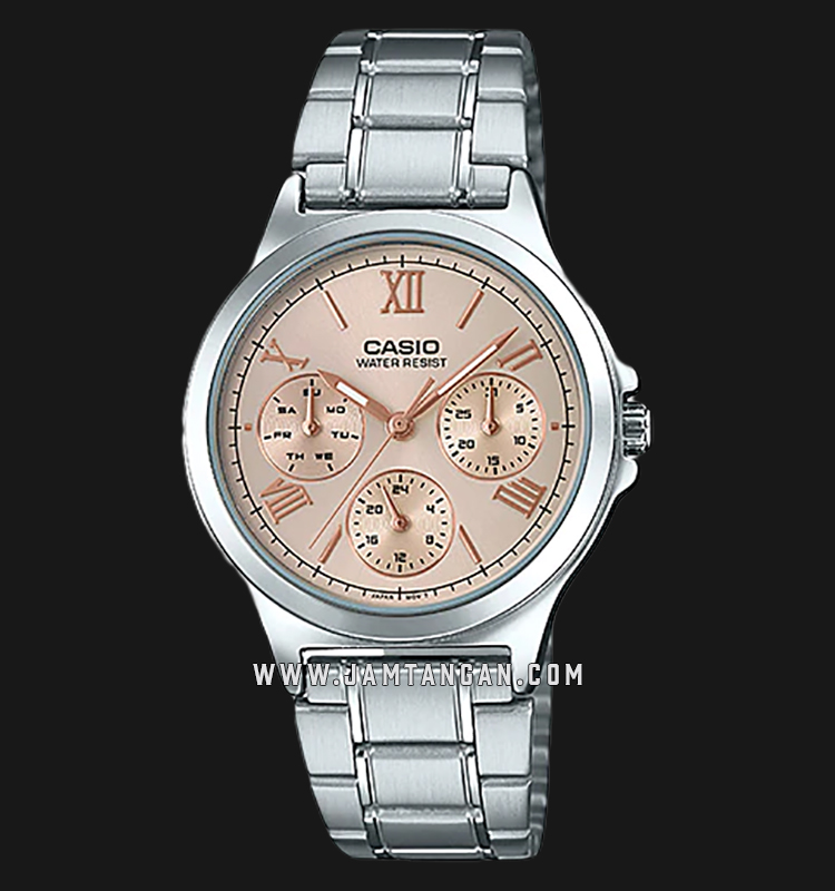 Casio LTP-V300D-9A2UDF Analog Ladies Rose Gold Dial Stainless Steel Strap Machtwatch