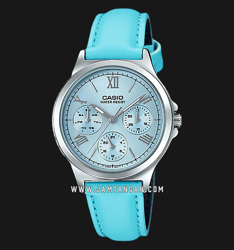 Casio LTP-V300L-2A3UDF Analog Ladies Blue Dial Blue Leather Strap Machtwatch