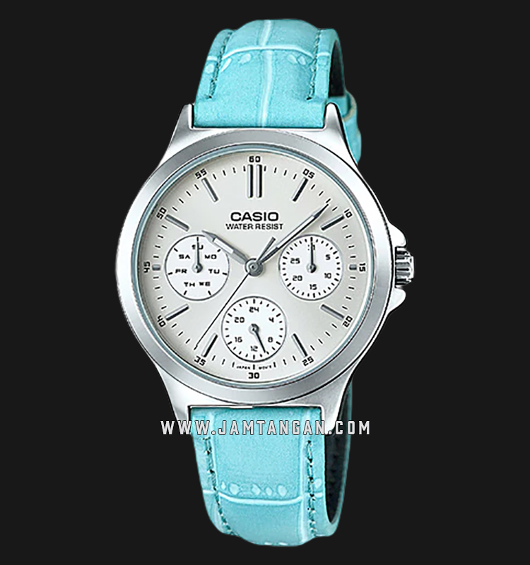 Casio LTP-V300L-2AUDF Enticer Ladies Silver Dial Blue Leather Strap Machtwatch