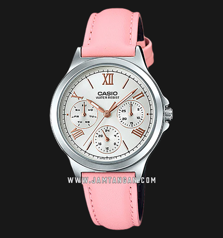 Casio LTP-V300L-4A2UDF Analog Ladies Silver Dial Pink Leather Strap Machtwatch