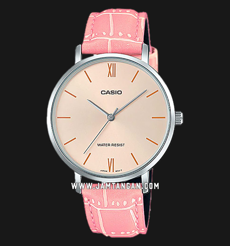 Casio LTP-VT01L-4BUDF Ladies Analog Rose Gold Dial Pink Leather Strap Machtwatch