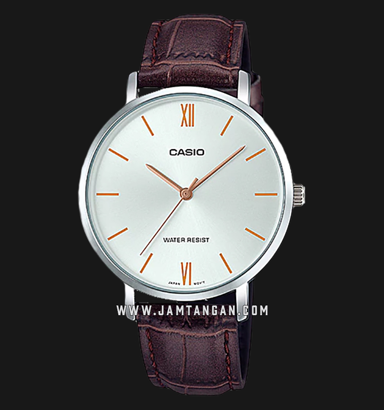 Casio LTP-VT01L-7B2UDF Analog Ladies Silver Dial Brown Leather Strap Machtwatch