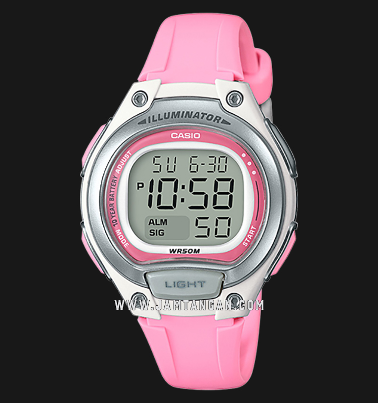 Casio General LW-203-4ADF Sports Digital Dial Pink Resin Strap Machtwatch