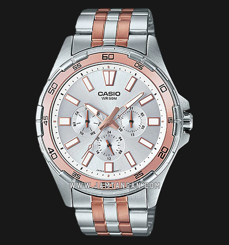 Casio MTD-300RG-7AVDF Enticer Men Silver Dial Dual Tone Stainless Steel Strap Machtwatch