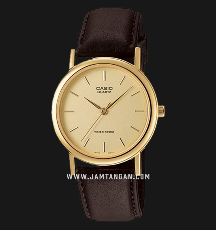 Casio Enticer MTP-1095Q-9A Gold Dial Brown Leather Strap Machtwatch