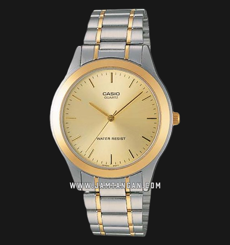Casio General MTP-1128G-9ARDF Men Gold Dial Dual Tone Stainless Steel Strap Machtwatch