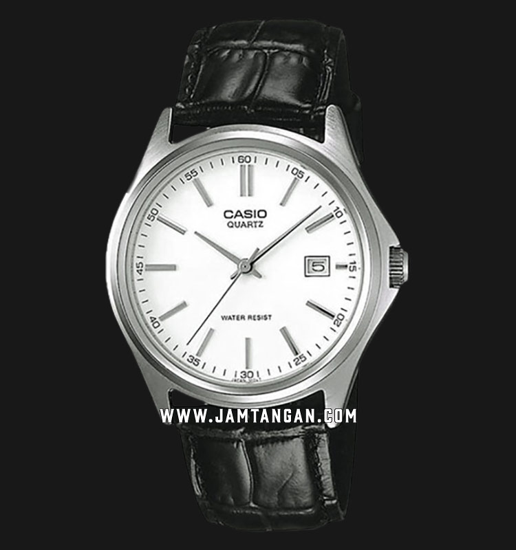 Casio MTP-1183E-7ADF Enticer Men White Dial Black Leather Strap Machtwatch