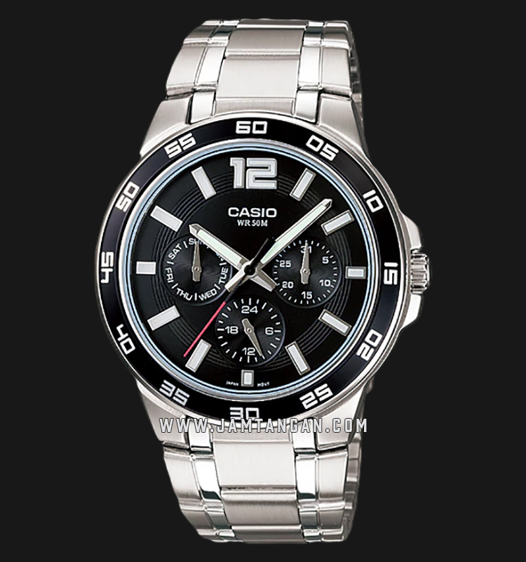 Casio MTP-1300D-1AVDF Enticer Men Black Dial Stainless Steel Strap Machtwatch